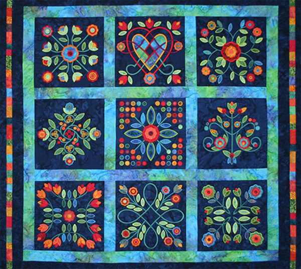 3 Rose Of Sharon Machine Embroidered Quilts