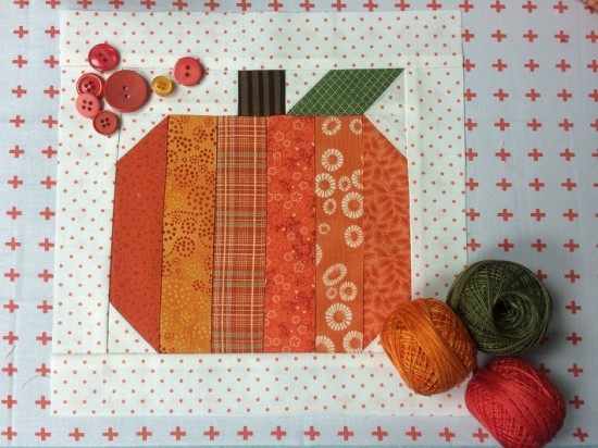 Strippy Pumpkin Quilt Block