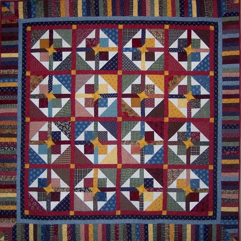 Dark Scrappy Star Quilt