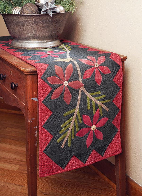 Poinsettia and Pine Table Runner