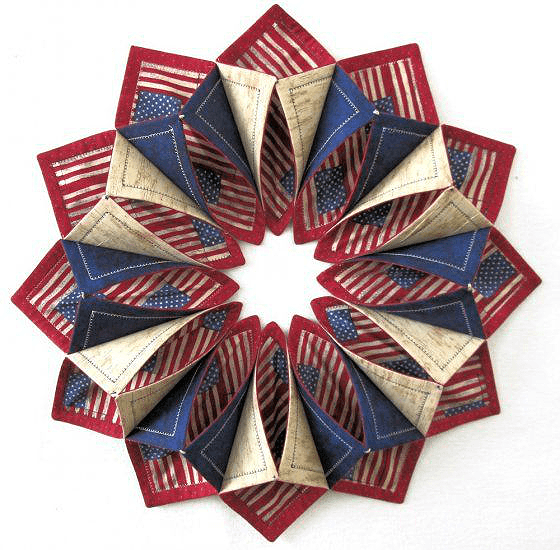 Fold 'n Stitch Wreath For Your Door Or Table Quilting Digest Classy Fold And Stitch Wreath Pattern