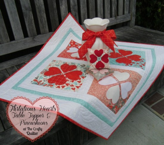 Flirtatious Hearts Table Topper and Pincushions