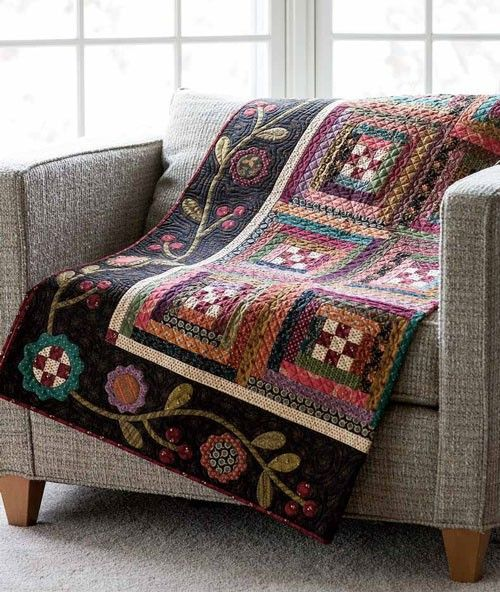 We love the cozy dark fabrics that Kim chose, but can also imagine this quilt sewn up with brighter fabrics.