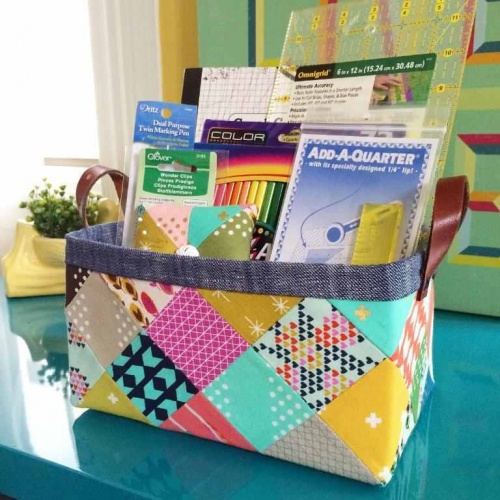 """<p style=""""background: none repeat scroll 0 0 #ff9; clear: both; margin-bottom: 18px; overflow: hidden; border: 1px solid #e5e597; padding: 13px;"""">Click here for the free """"Sturdy Fabric Basket"""" pattern.</p>"""