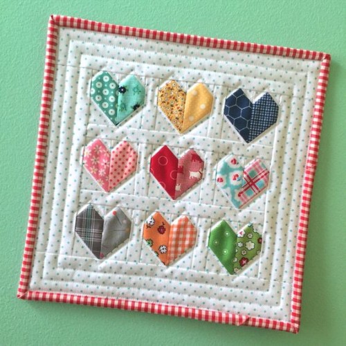 Scrappy Happy Hearts Mini Quilt
