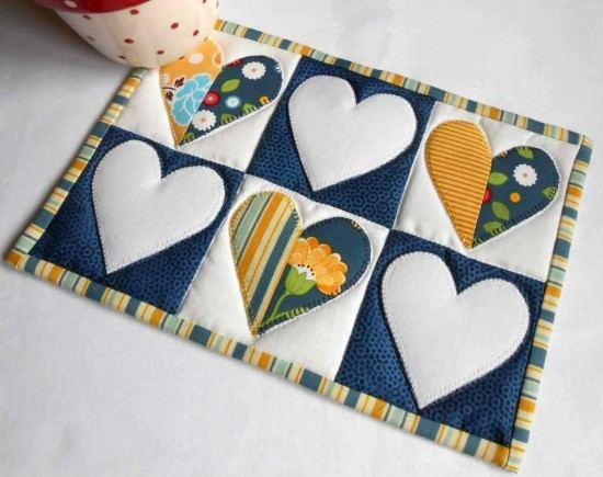Half-Hearted Mug Rug Pattern