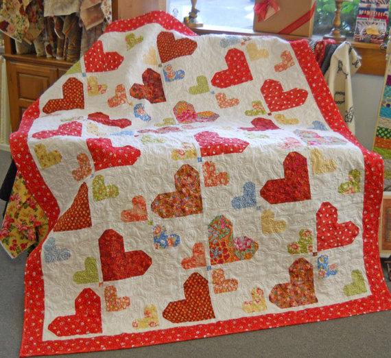 Random Hearts Quilt Pattern