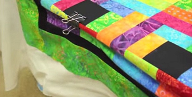 Layer a Large Quilt on a Small Table