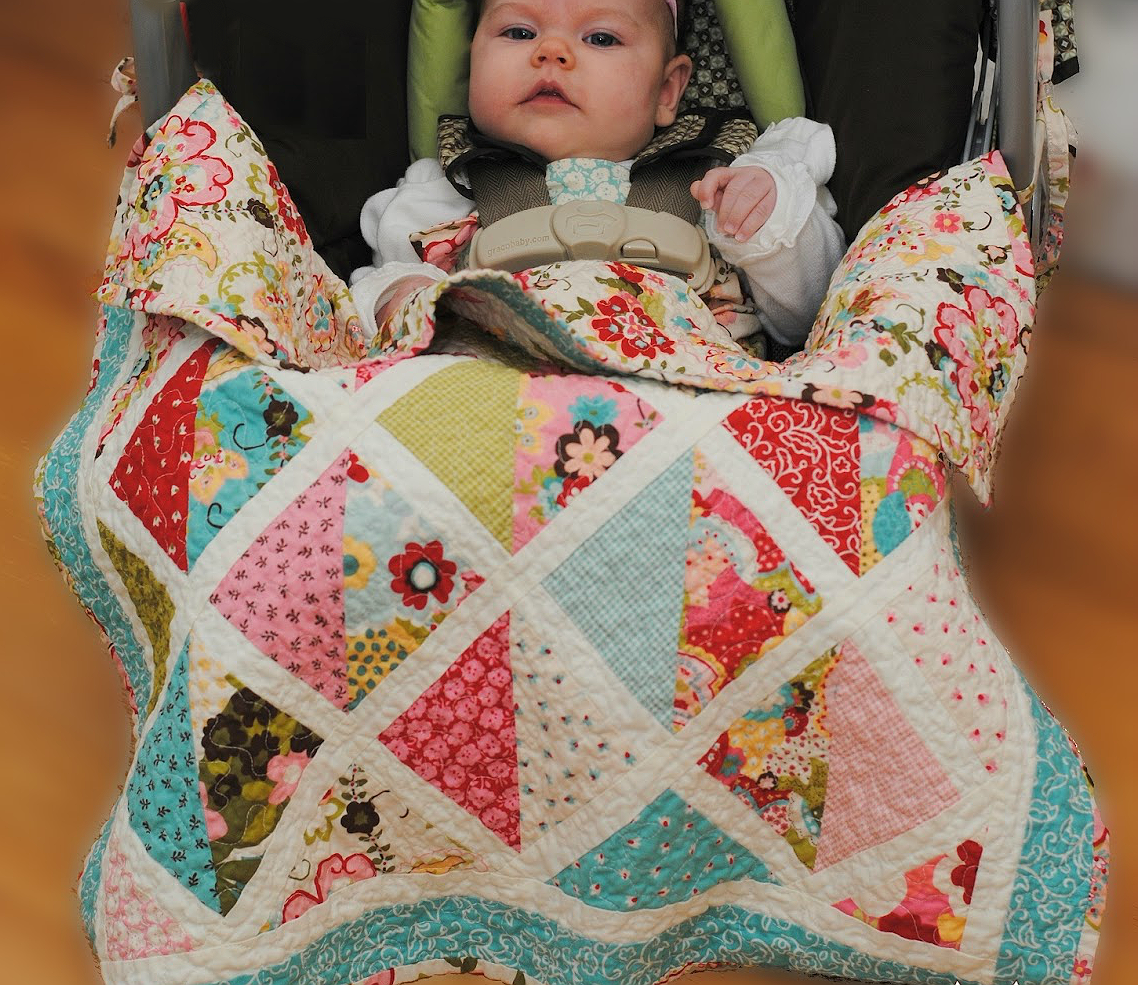 Car Seat Quilt with Ties