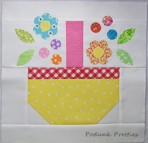 Scrappy Spring Basket Quilt Block