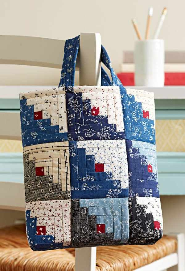 Quilting Bag Designs : Mini Log Cabin Blocks Make a Charming Bag - Quilting Digest