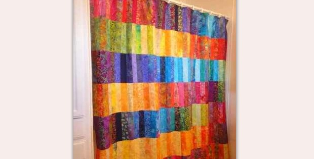 Brighten Up A Bathroom With Patchwork Shower Curtain
