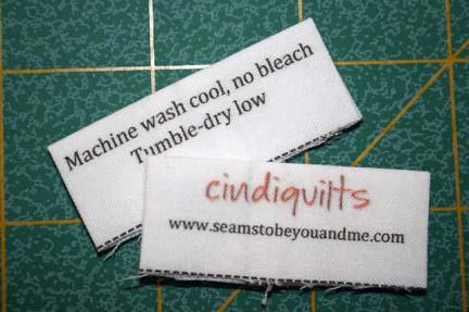 Quilt Care Label
