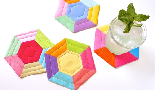 Colorful Hexie Coasters