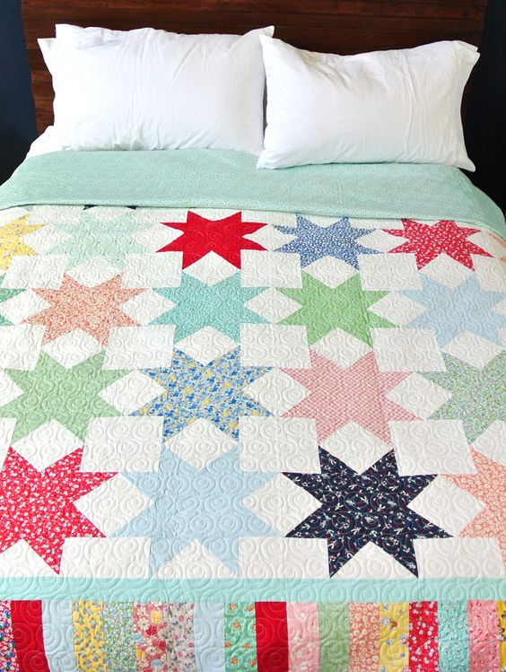 Free Easy Quilt Patterns Instructions : Sawtooth Stars Light Up This Quilt - Quilting Digest