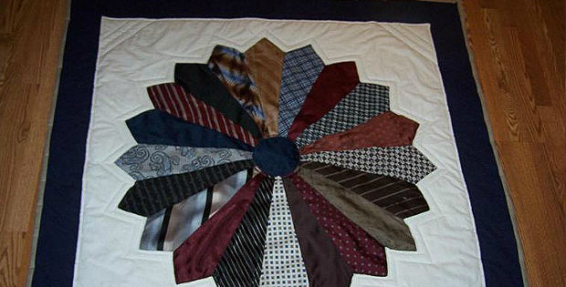 Dresden Memory Quilt Made of Ties