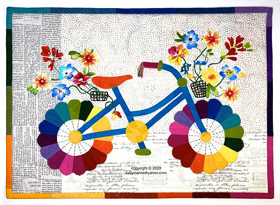Mini Whimsical Bicycle Art Quilt Pattern