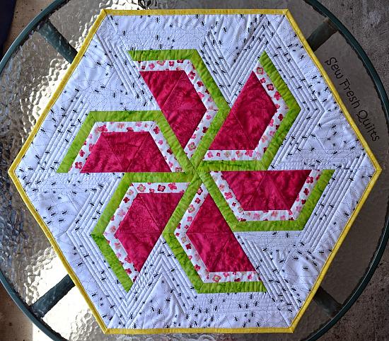 Sweet Watermelon Hexagonal Table Topper Pattern