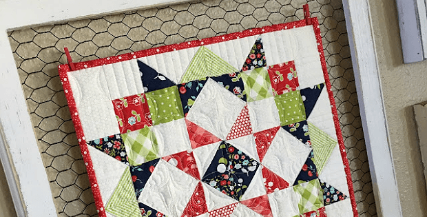 Moda Love Mini Quilt In Rustic Frame