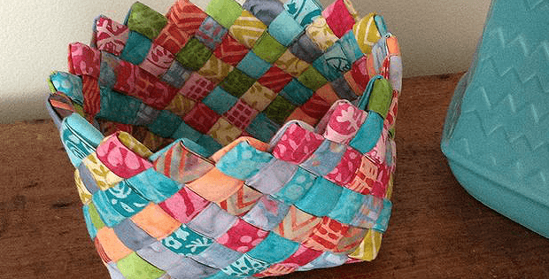 How To Weave A Basket From Fabric : Weave fabric strips into a charming basket quilting digest
