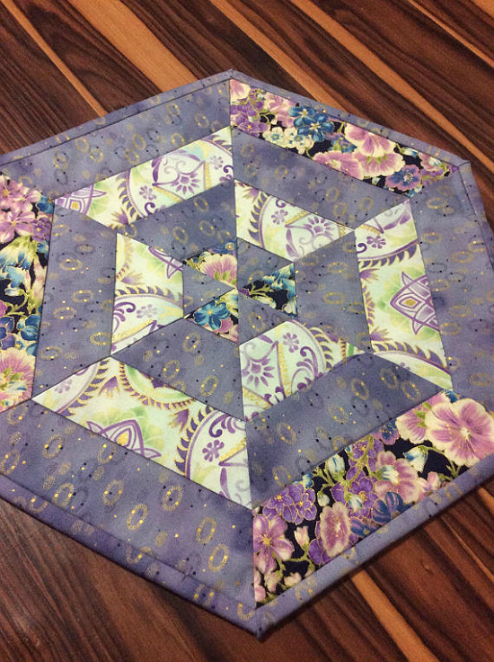 Violet Floral Hexie Quilted Centerpiece