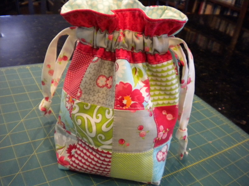 Patchwork Drawstring Bag