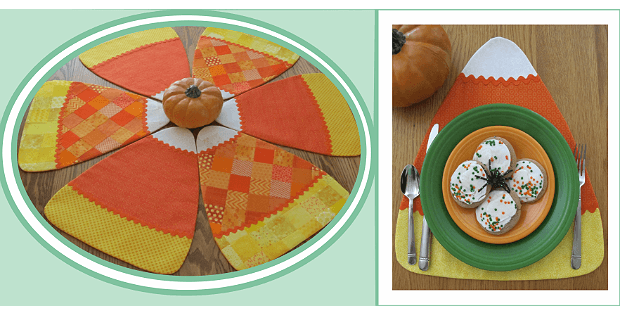 Candy Corn Pieces Place Mats and Table Toppers