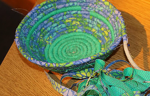 Coiled Basket from Scraps