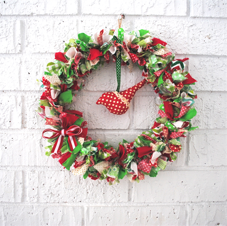 Birdie Fabric Christmas Wreath
