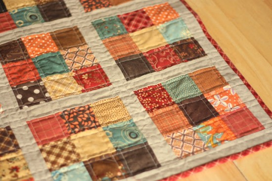 Scrappy Nine Patch Mini Quilt for Autumn