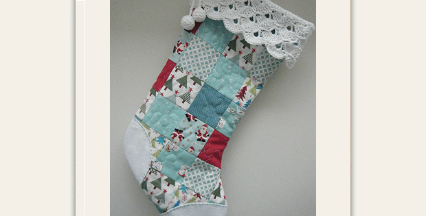Patchwork Stocking with Crocheted Cuff