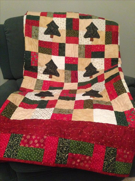 Nine-Patch Christmas Scrap Quilt