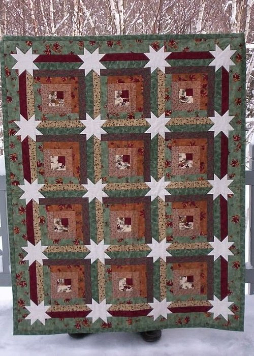 Log Cabin Hidden Stars Quilt Pattern