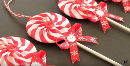 Fabric Peppermint Lollipop Ornaments