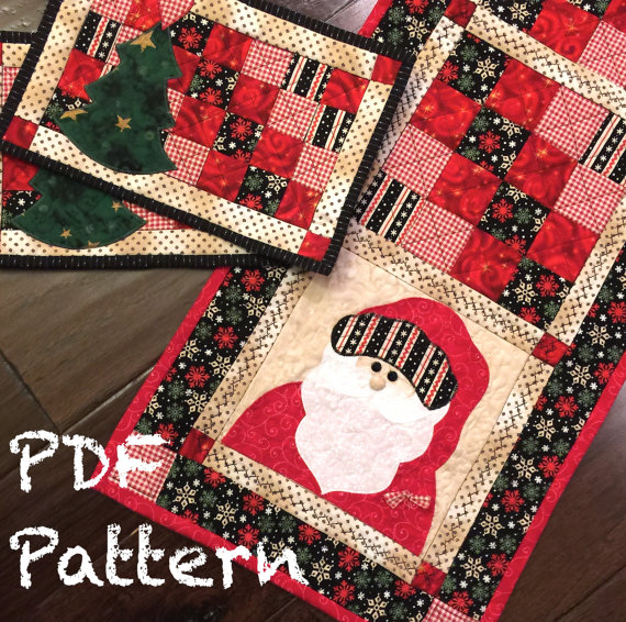 Santa Table Runner and Matching Mug Rugs