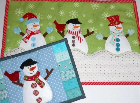 Snowman Mug Rug and Table Mat