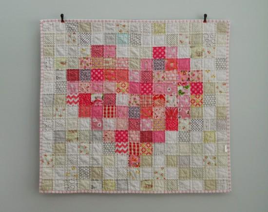 Pixelated Heart Baby Quilt