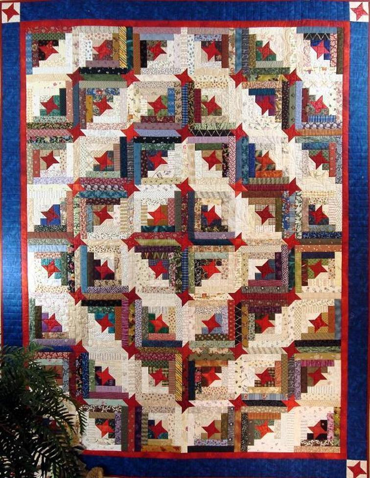 Stars Make This Scrappy Log Cabin Quilt Special Quilting