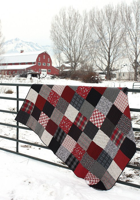 Black and Red Plaid Flannel Quilt