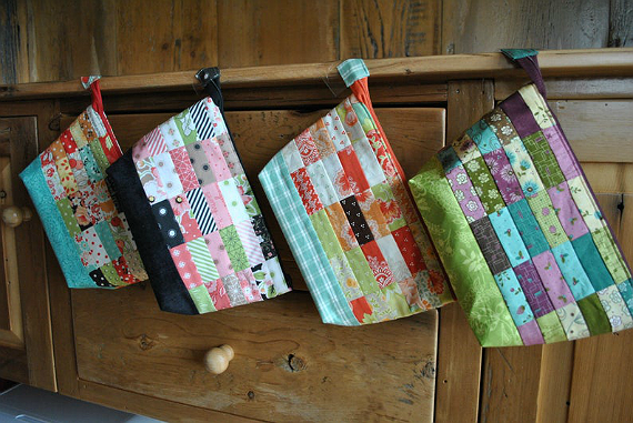 Patchwork Fabric Zipper Pouch