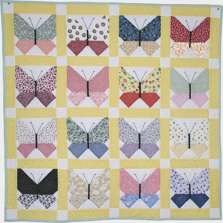 Retro Fabrics Are Lovely In This Butterfly Quilt Quilting Digest Fascinating Butterfly Quilt Pattern