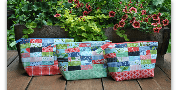 Patchwork Fabric Zipper Pouches