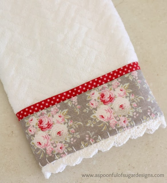 Make Hand Towels Special with Fabric and Trim