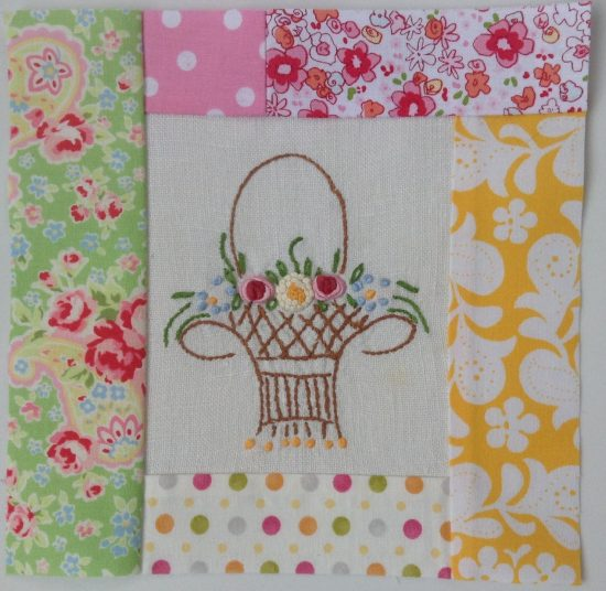 Quilt Block with a Vintage Linen