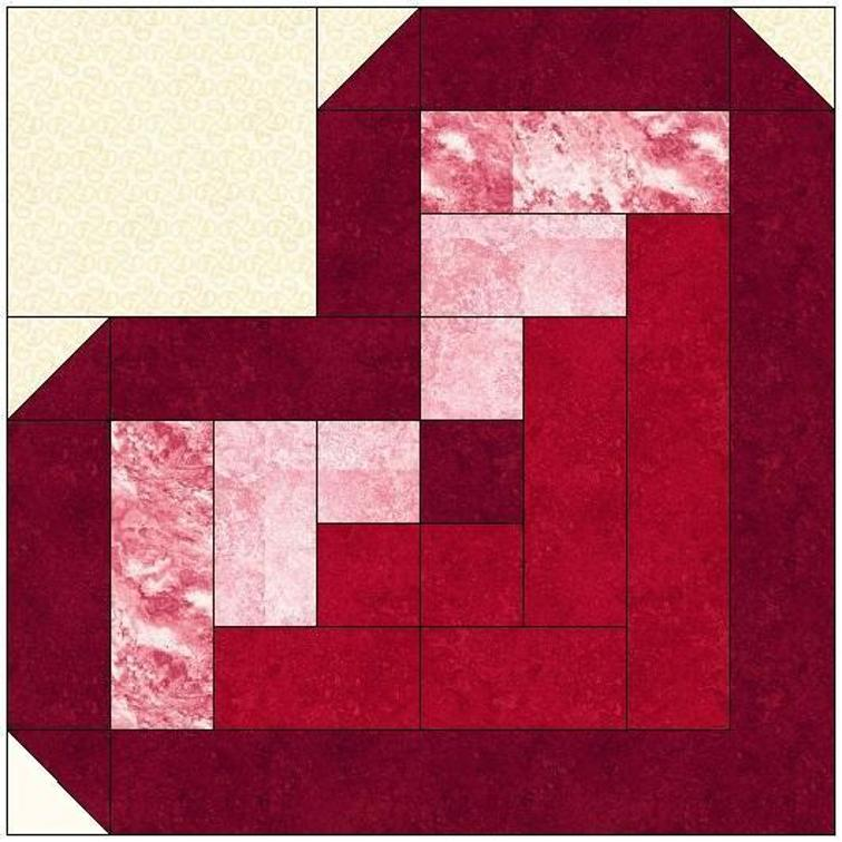 Pattern For Log Cabin Heart Quilt : Replicate This Quilt from Your Stash - Quilting Digest
