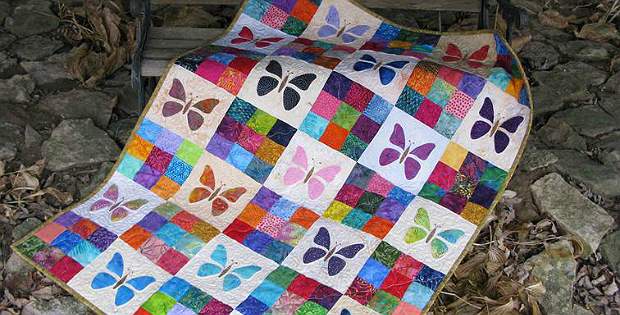 Quilting Digest Free Patterns : Make a Butterfly Baby Quilt from Scraps - Quilting Digest