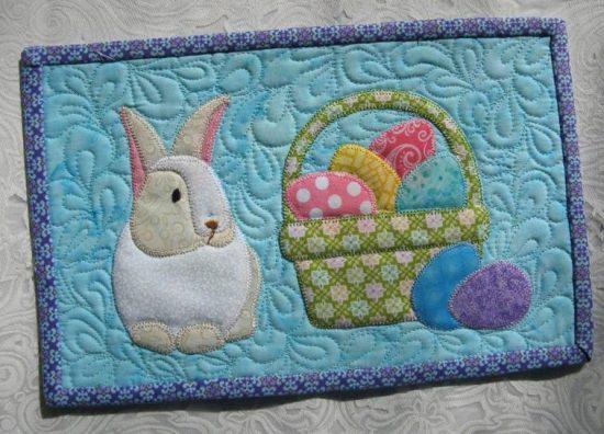 Bunny and Basket Mug Rug