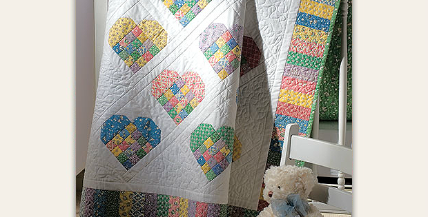 Scrap-Patch Hearts Quilt