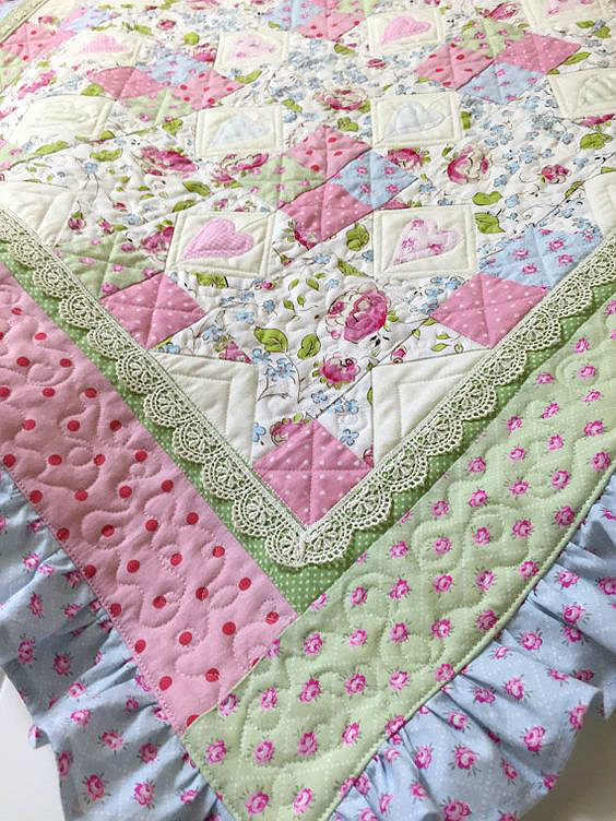 A Sweet Baby Quilt With Ruffles And Lace Quilting Digest