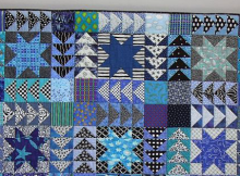 Black and White and Blue All Over Wall Quilt